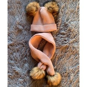 Other - Childrens Real Fur Double Pom Pom Hat & Scarf Set